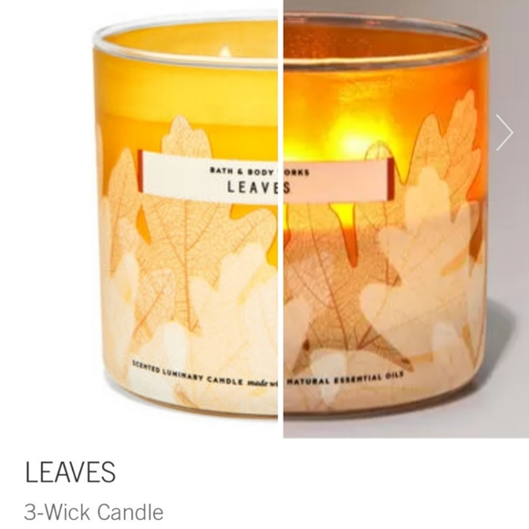 """🕯🍂NWT‼️Bath & Body Works """"Leaves"""" 3-wick Candle"""